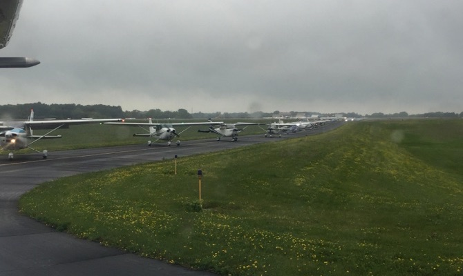 Lineup for takeoff at Dodge County Airport in Juneau